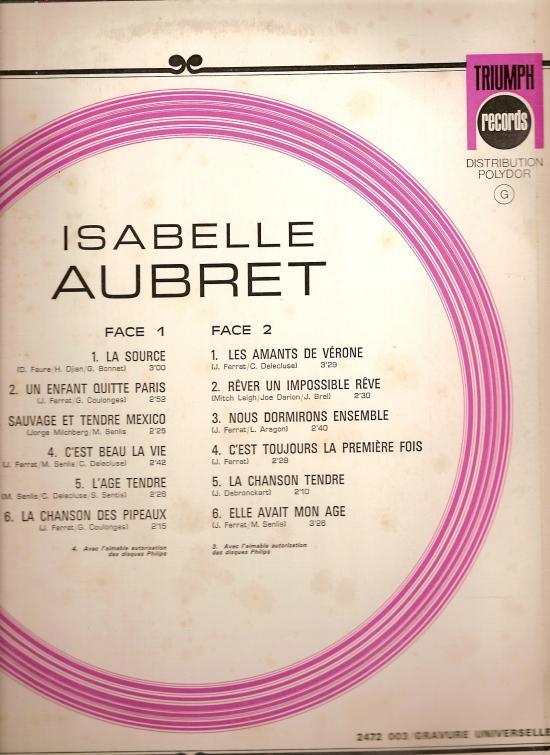 verso de ce disque du début des années 70