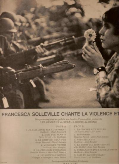"""Verso de ce 33 tours  """"la violence et l'espoir"""""""