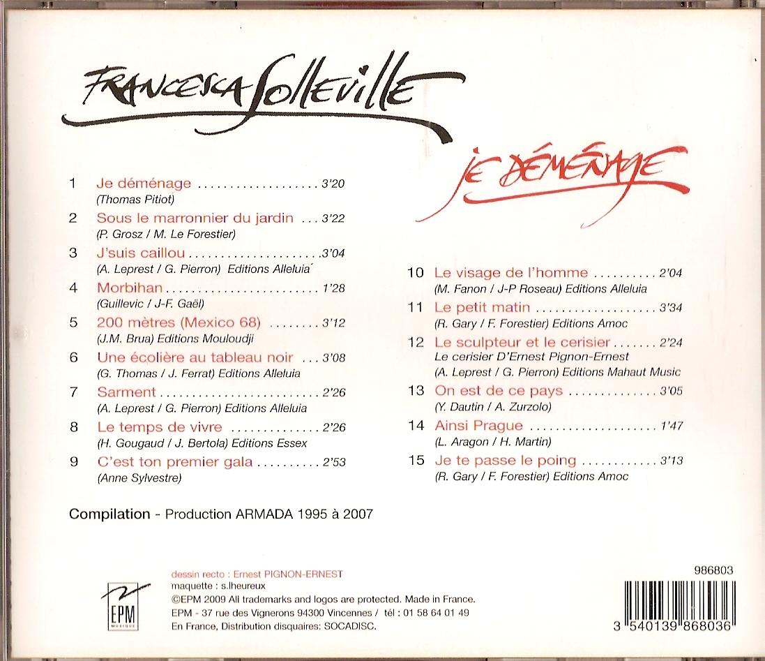 Verso du CD de Francesca (paru en mars 2009)
